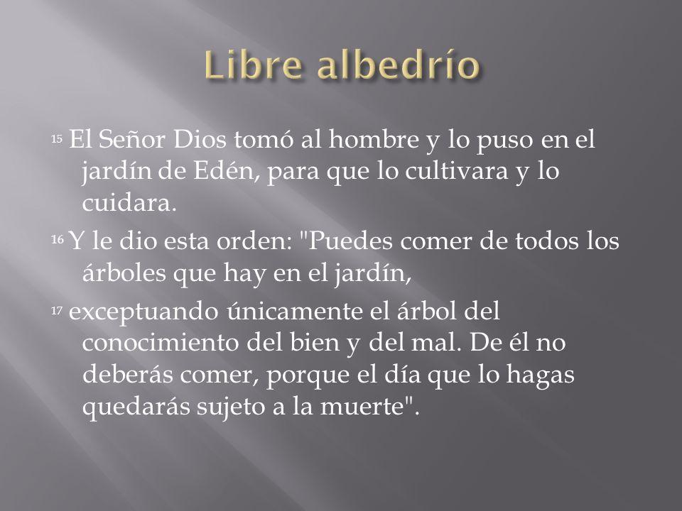 Libre albedrío 15 El Señor Dios tomó al hombre y lo puso en el jardín de Edén, para que lo cultivara y lo cuidara.