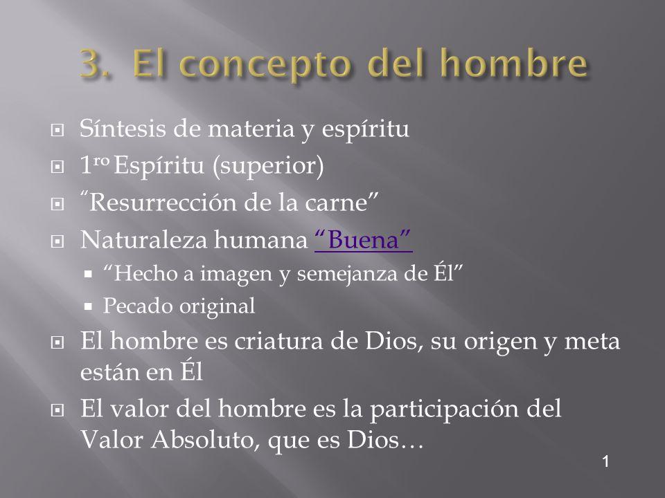 El concepto del hombre Síntesis de materia y espíritu