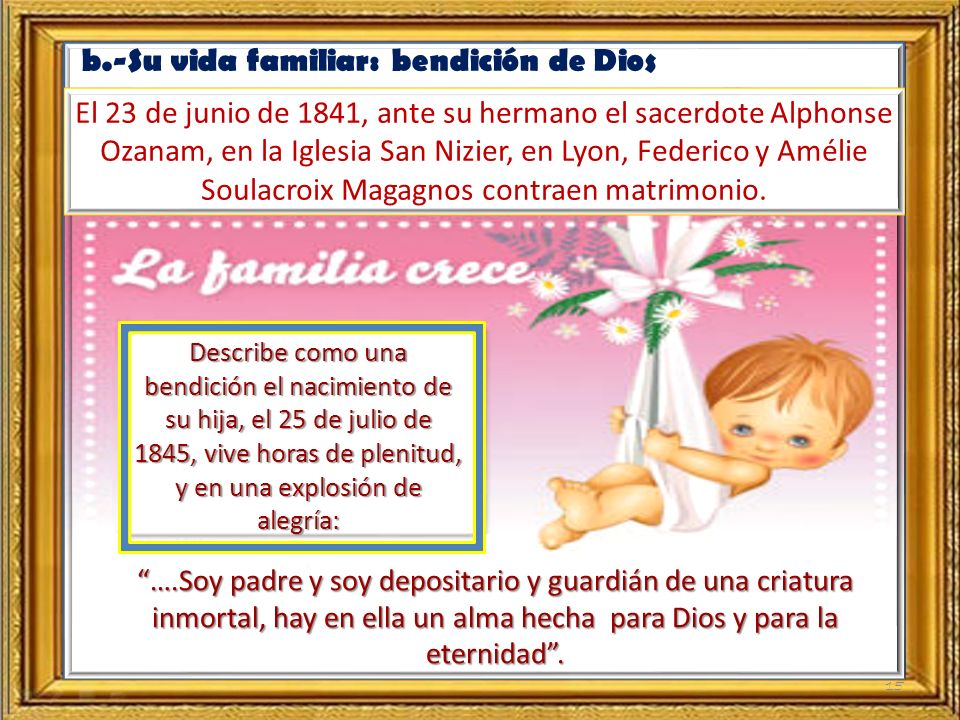 b.-Su vida familiar: bendición de Dios