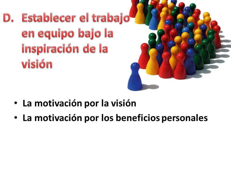 Establecer el trabajo en equipo bajo la inspiración de la visión