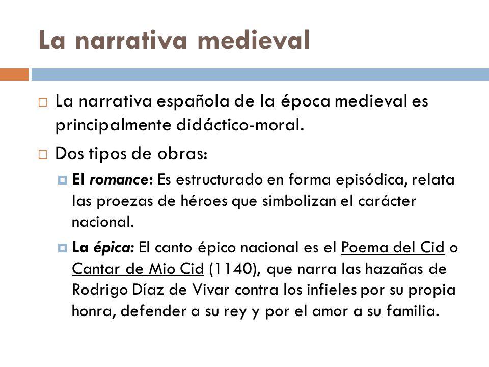 La narrativa medieval La narrativa española de la época medieval es principalmente didáctico-moral.