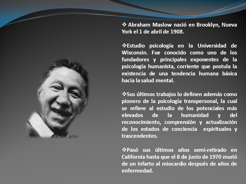 Abraham Maslow nació en Brooklyn, Nueva York el 1 de abril de 1908.