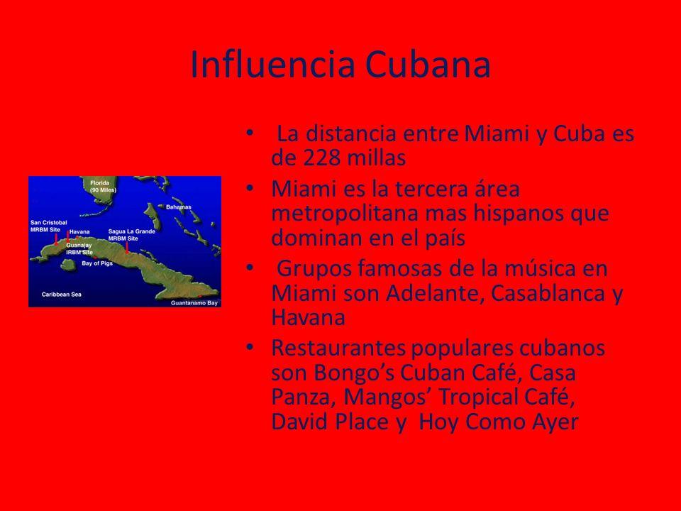 Influencia Cubana La distancia entre Miami y Cuba es de 228 millas