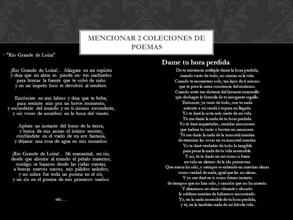 Mencionar 2 coleciones de poemas