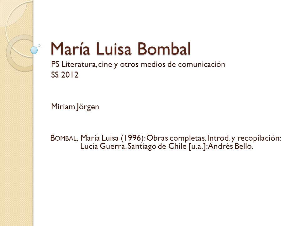 María Luisa Bombal PS Literatura, cine y otros medios de comunicación