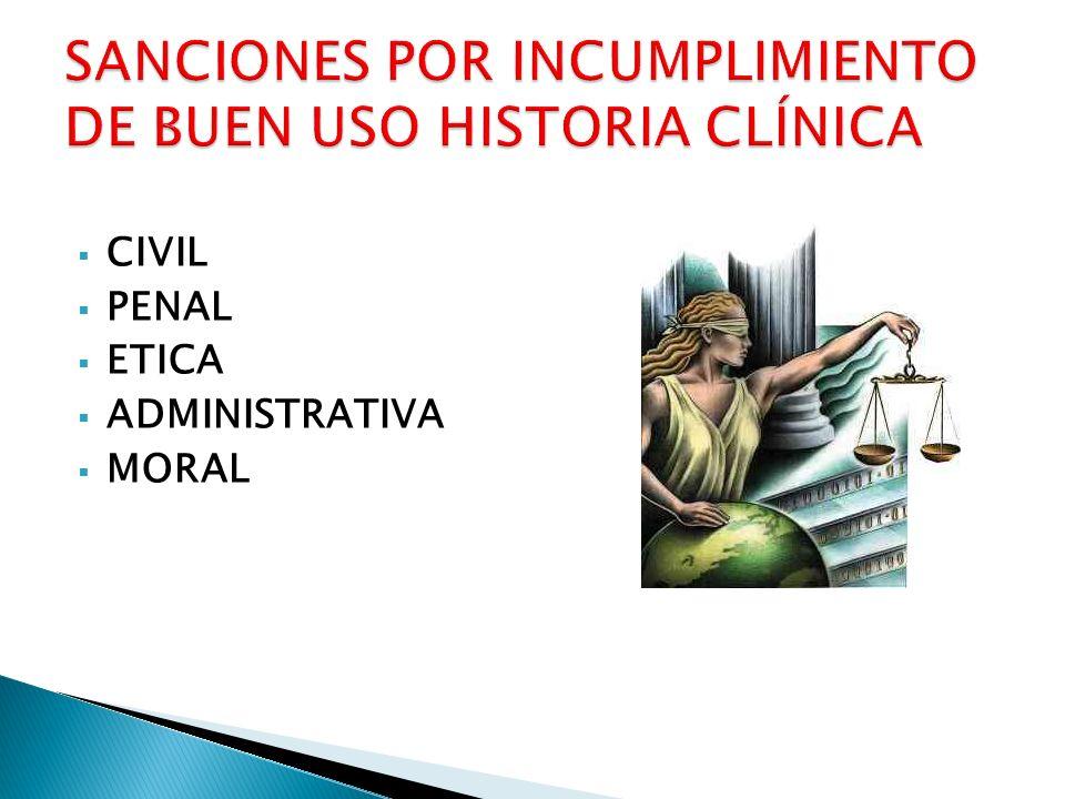 SANCIONES POR INCUMPLIMIENTO DE BUEN USO HISTORIA CLÍNICA