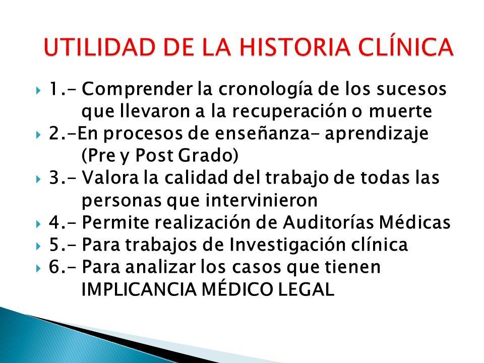 UTILIDAD DE LA HISTORIA CLÍNICA
