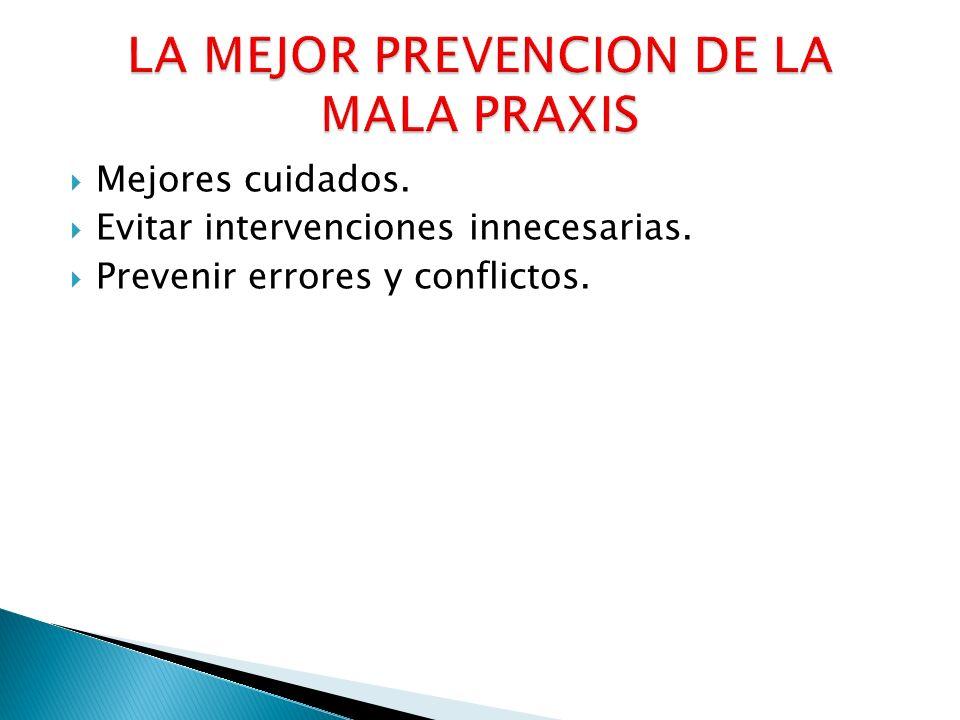 LA MEJOR PREVENCION DE LA MALA PRAXIS
