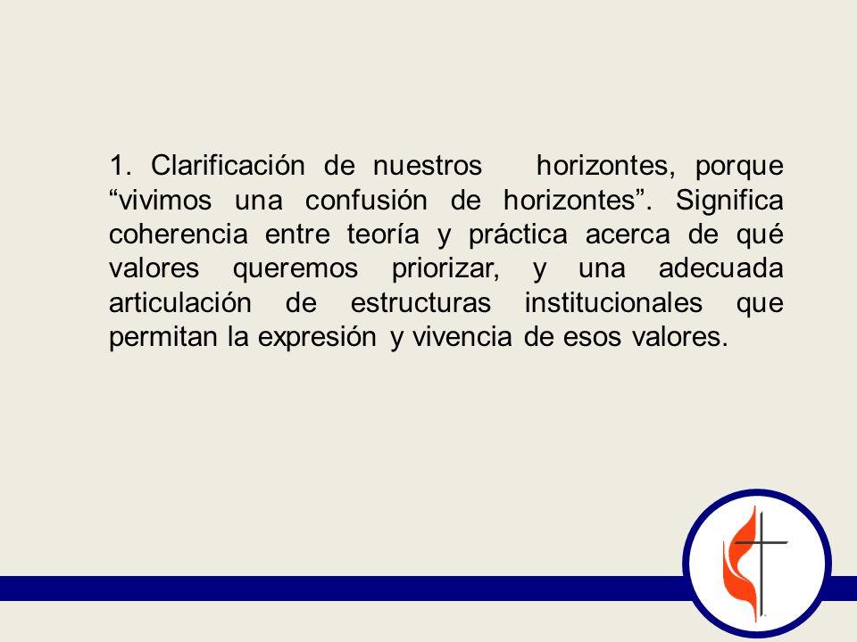 1. Clarificación de nuestros horizontes, porque vivimos una confusión de horizontes .