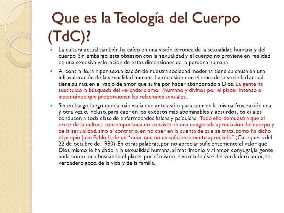 Que es la Teología del Cuerpo (TdC)
