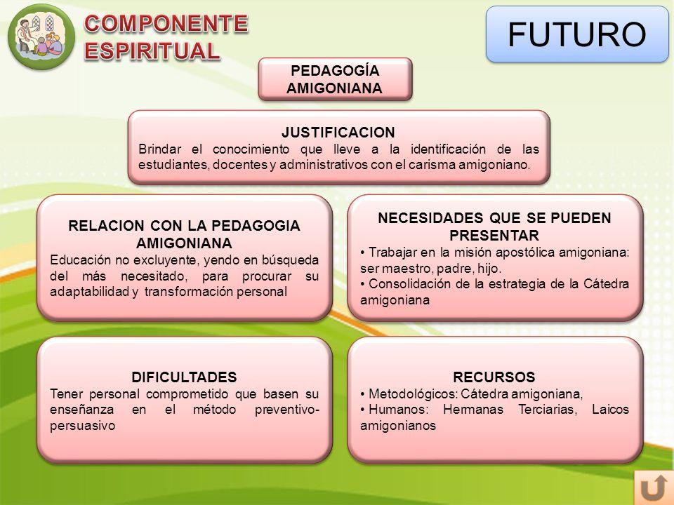 FUTURO COMPONENTE ESPIRITUAL PEDAGOGÍA AMIGONIANA JUSTIFICACION