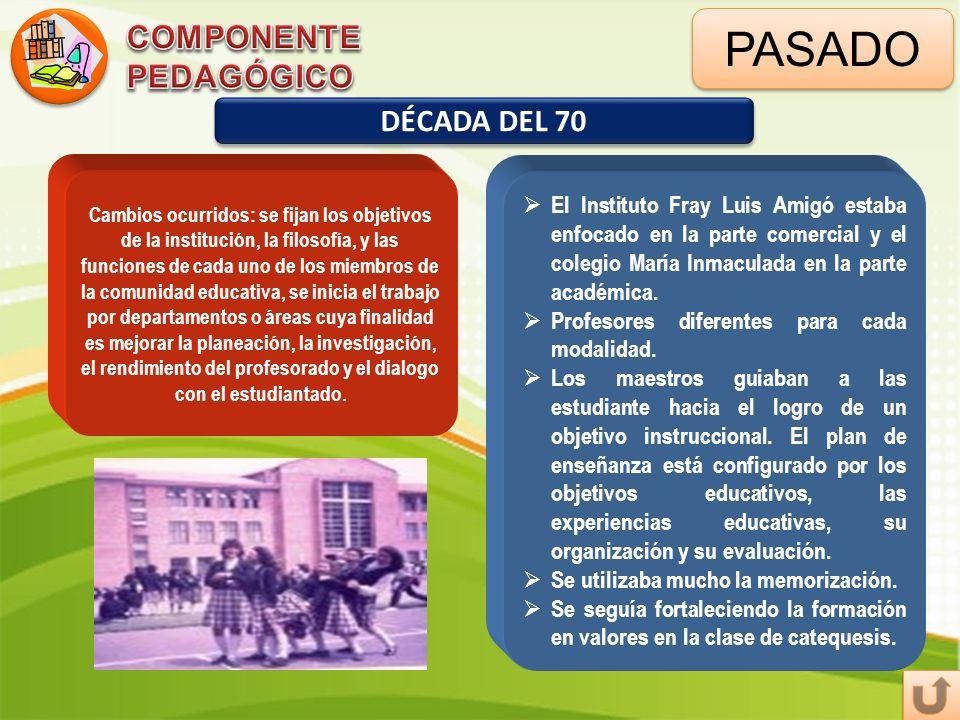 PASADO COMPONENTE PEDAGÓGICO DÉCADA DEL 70