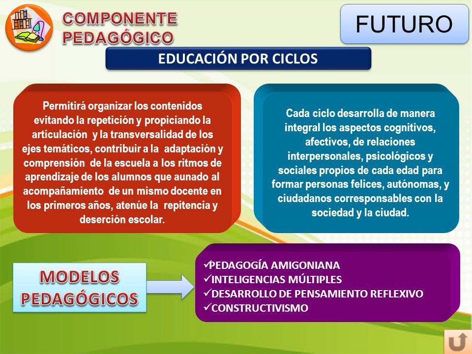 FUTURO MODELOS PEDAGÓGICOS COMPONENTE PEDAGÓGICO EDUCACIÓN POR CICLOS