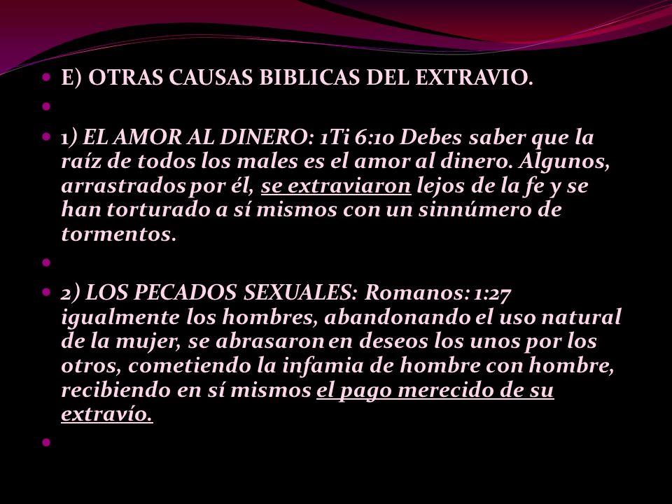 E) OTRAS CAUSAS BIBLICAS DEL EXTRAVIO.