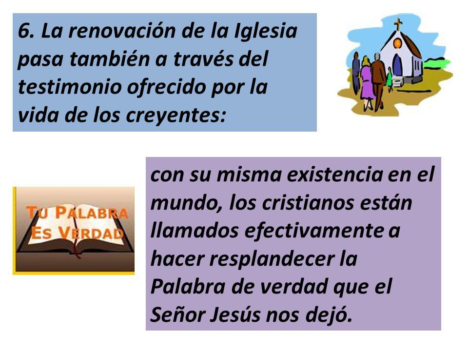 6. La renovación de la Iglesia pasa también a través del testimonio ofrecido por la vida de los creyentes:
