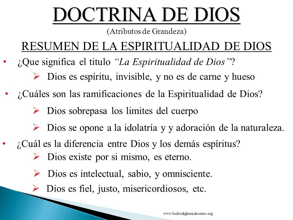 DOCTRINA DE DIOS RESUMEN DE LA ESPIRITUALIDAD DE DIOS