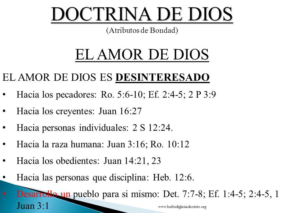 DOCTRINA DE DIOS EL AMOR DE DIOS CONCLUSIÓN