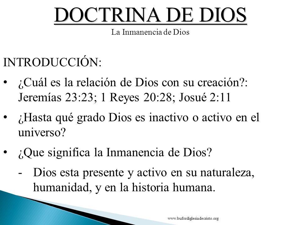 DOCTRINA DE DIOS INTRODUCCIÓN: