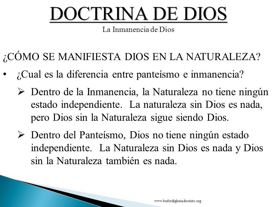 DOCTRINA DE DIOS ¿CÓMO SE MANIFIESTA DIOS EN LA NATURALEZA