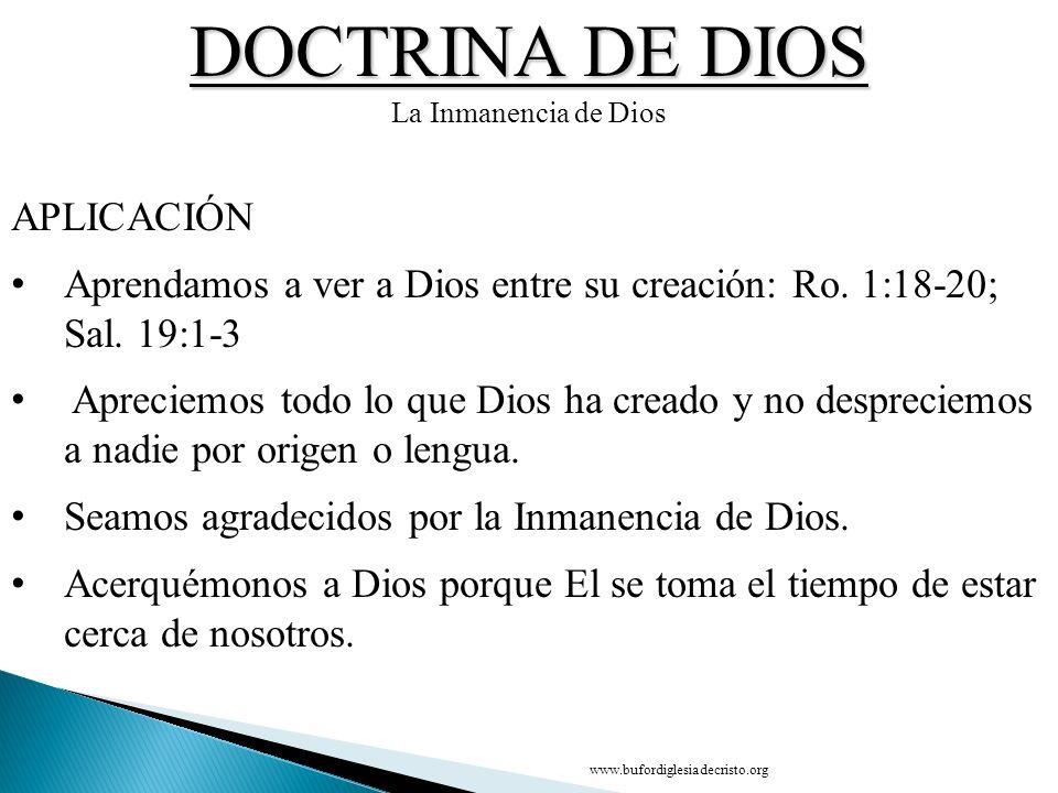DOCTRINA DE DIOS APLICACIÓN