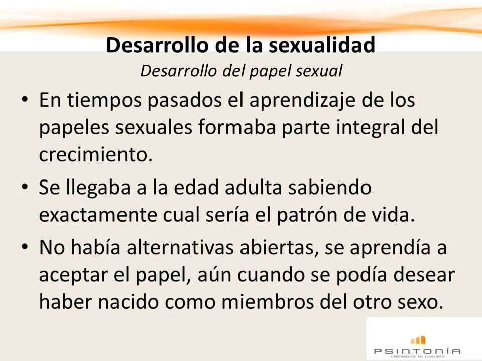 Desarrollo de la sexualidad Desarrollo del papel sexual