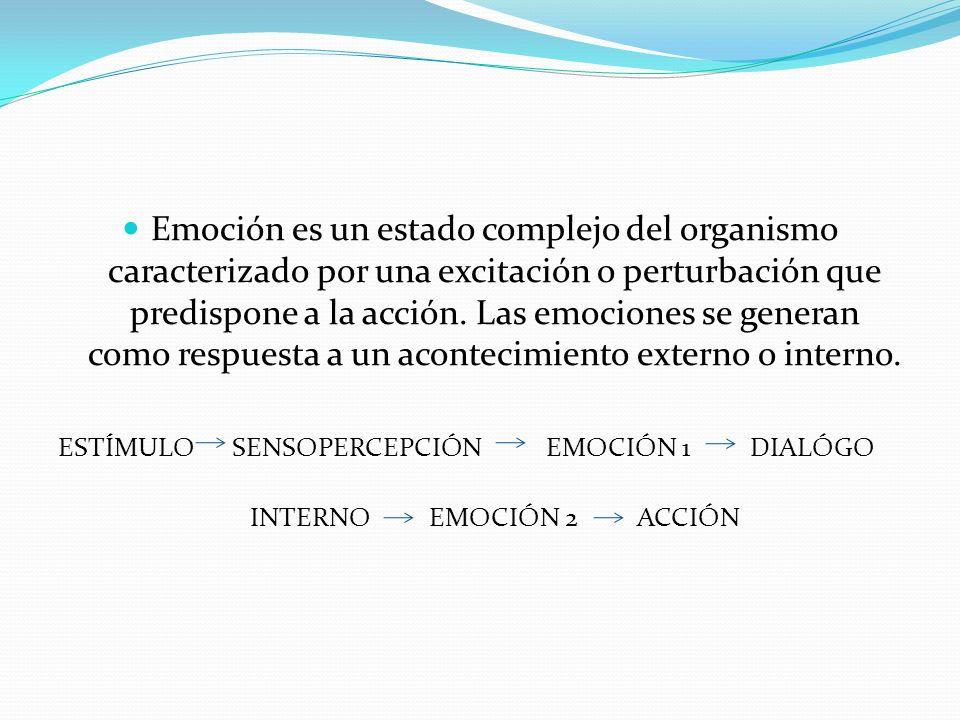 Emoción es un estado complejo del organismo caracterizado por una excitación o perturbación que predispone a la acción. Las emociones se generan como respuesta a un acontecimiento externo o interno.