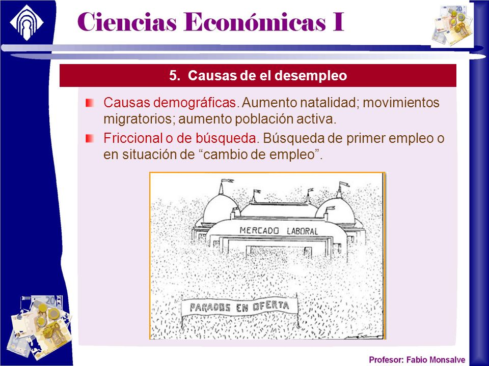 5. Causas de el desempleo Causas demográficas. Aumento natalidad; movimientos migratorios; aumento población activa.