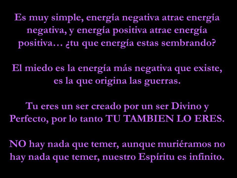 Es muy simple, energía negativa atrae energía negativa, y energía positiva atrae energía positiva… ¿tu que energía estas sembrando