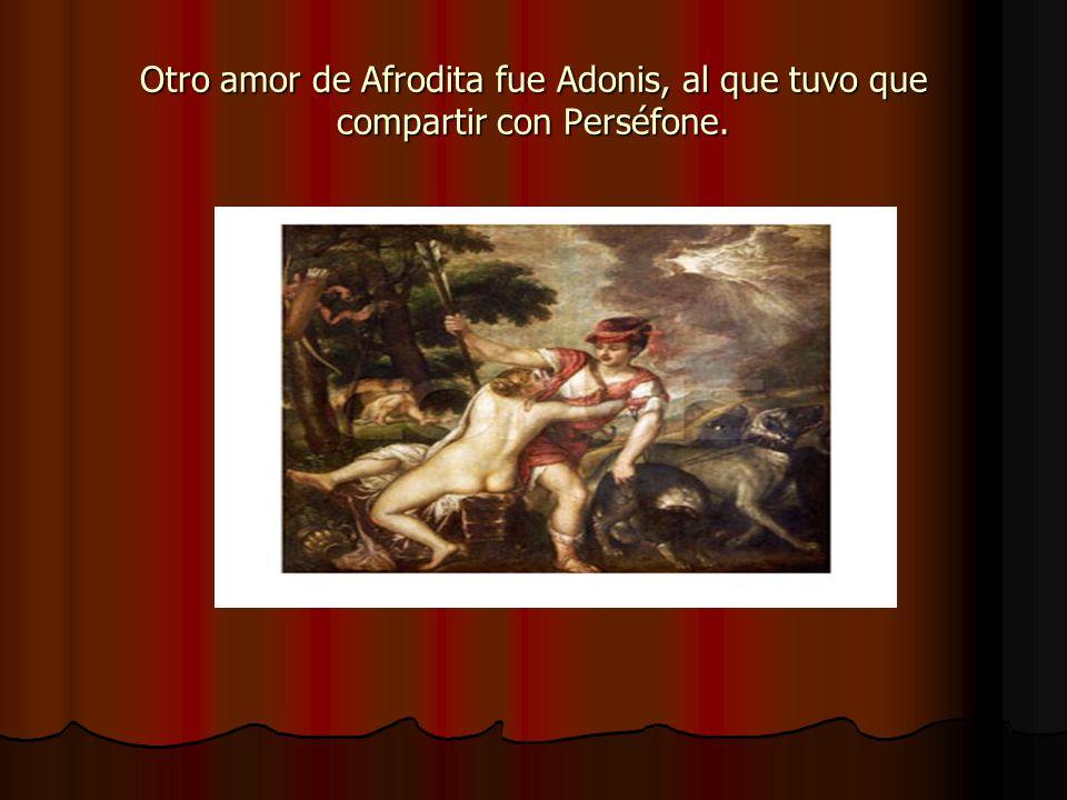 Otro amor de Afrodita fue Adonis, al que tuvo que compartir con Perséfone.