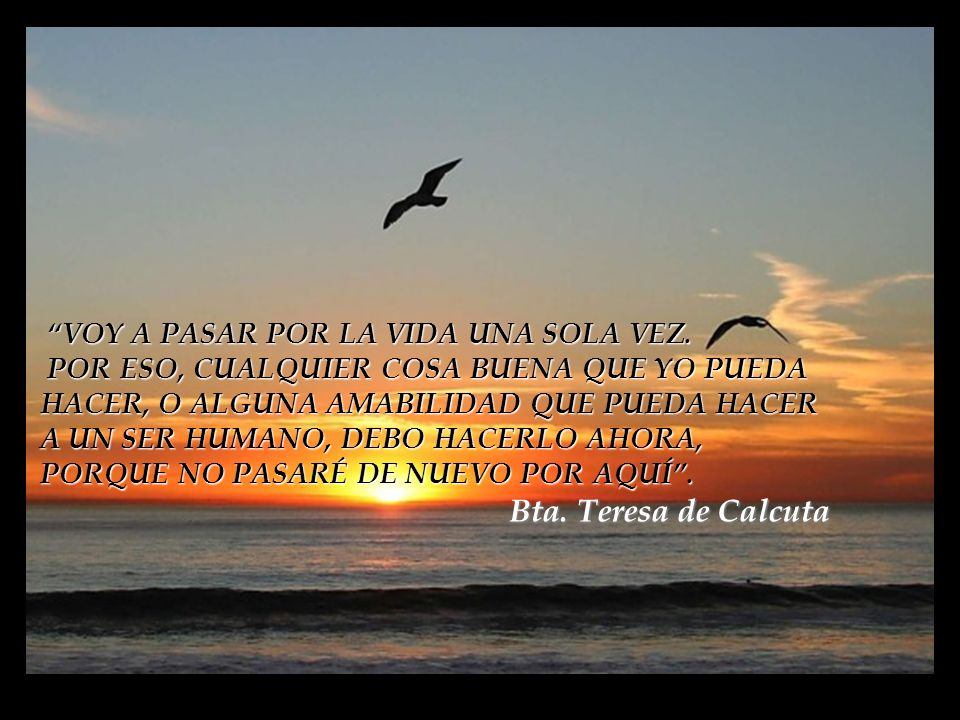 Bta. Teresa de Calcuta VOY A PASAR POR LA VIDA UNA SOLA VEZ.
