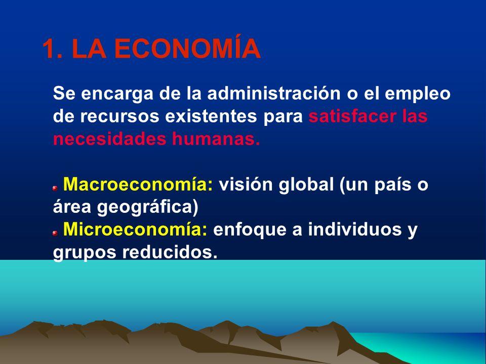 1. LA ECONOMÍA Se encarga de la administración o el empleo de recursos existentes para satisfacer las necesidades humanas.