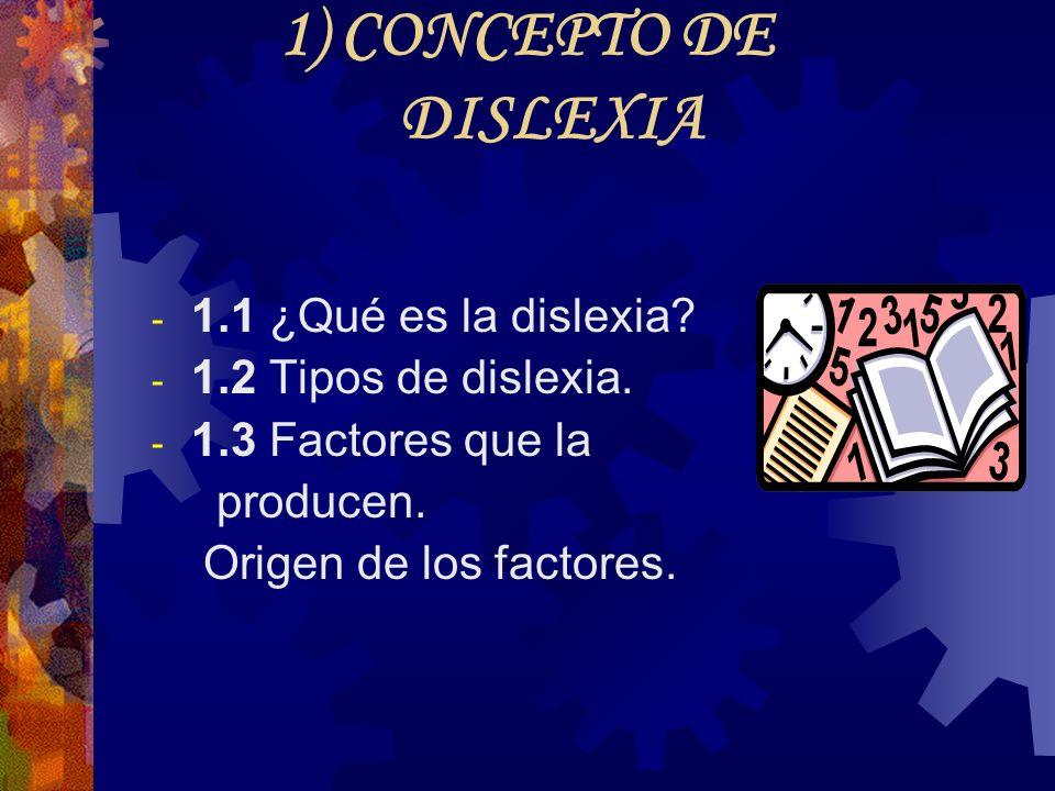 1) CONCEPTO DE DISLEXIA 1.1 ¿Qué es la dislexia