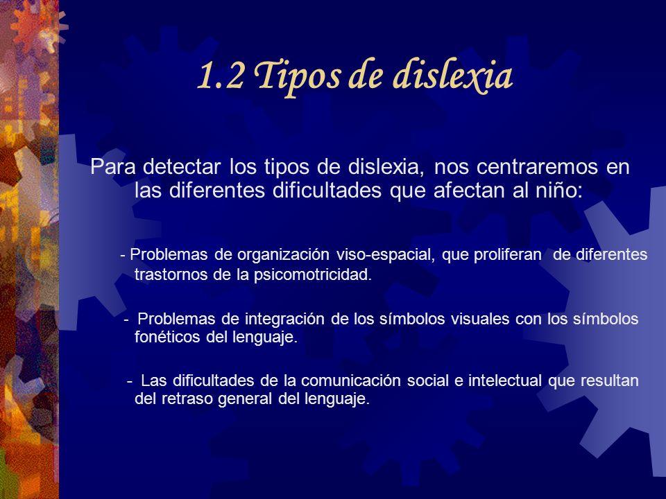 1.2 Tipos de dislexia Para detectar los tipos de dislexia, nos centraremos en las diferentes dificultades que afectan al niño: