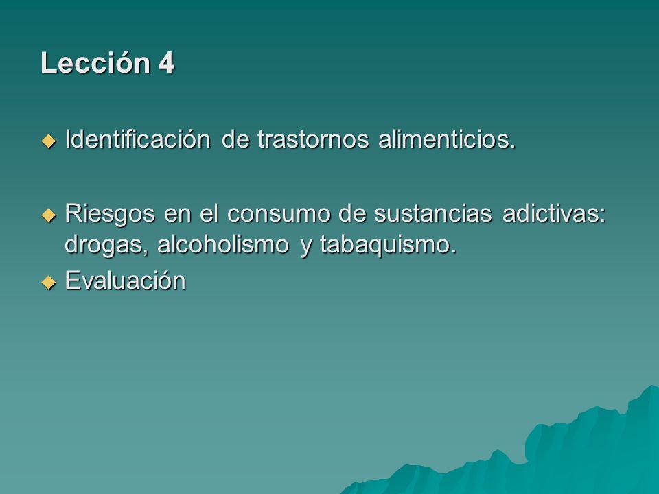 Lección 4 Identificación de trastornos alimenticios.