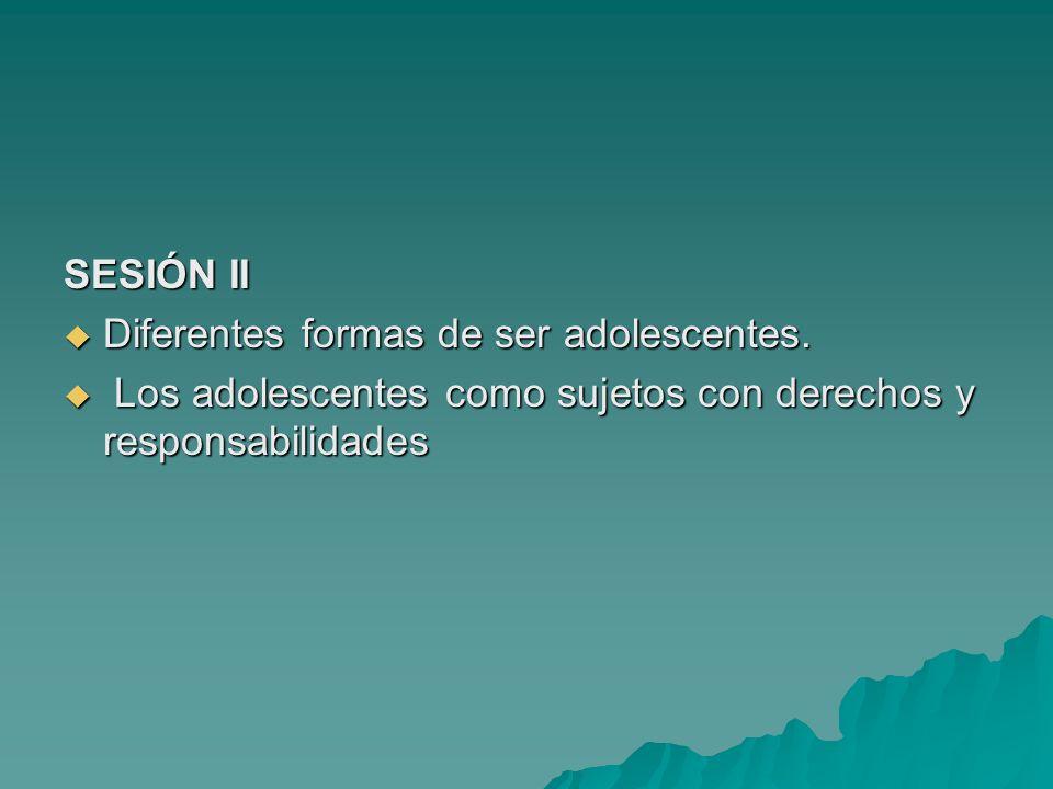 SESIÓN II Diferentes formas de ser adolescentes.