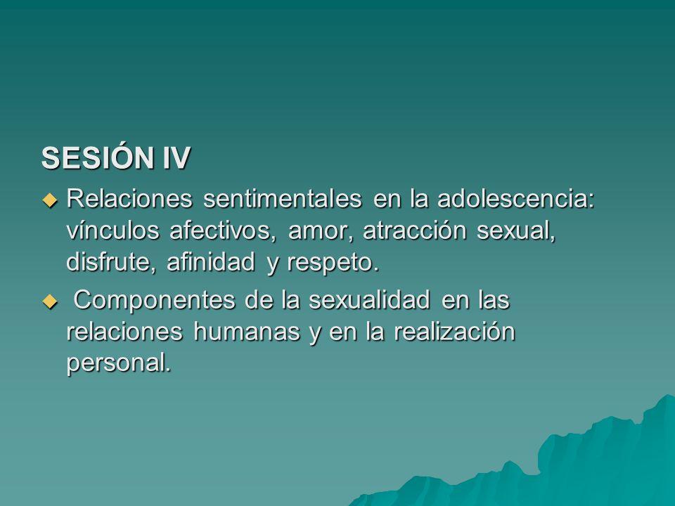 SESIÓN IV Relaciones sentimentales en la adolescencia: vínculos afectivos, amor, atracción sexual, disfrute, afinidad y respeto.