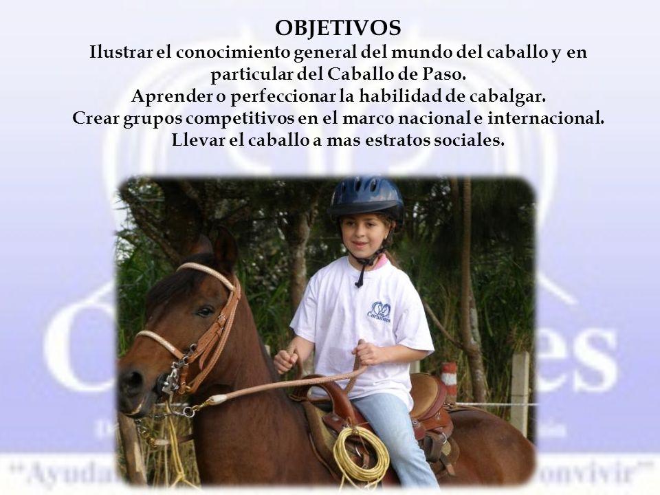 OBJETIVOS Ilustrar el conocimiento general del mundo del caballo y en particular del Caballo de Paso.