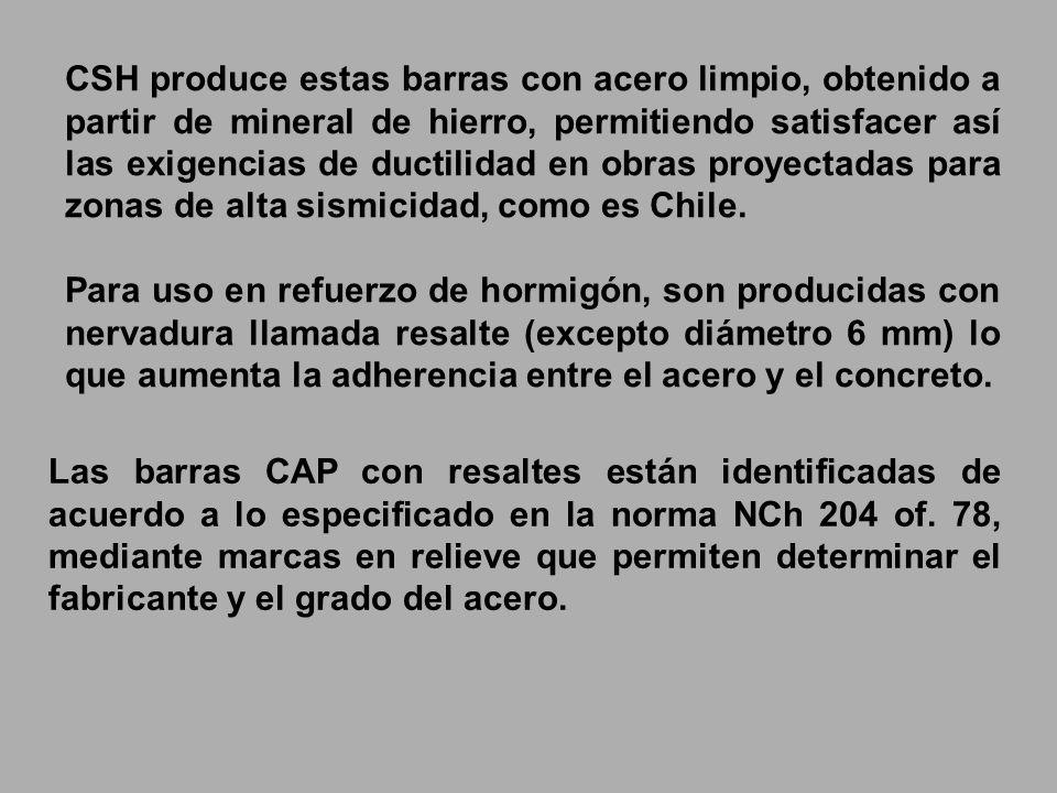 CSH produce estas barras con acero limpio, obtenido a partir de mineral de hierro, permitiendo satisfacer así las exigencias de ductilidad en obras proyectadas para zonas de alta sismicidad, como es Chile.