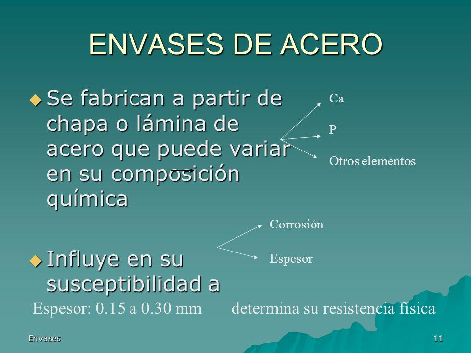 ENVASES DE ACERO Se fabrican a partir de chapa o lámina de acero que puede variar en su composición química.