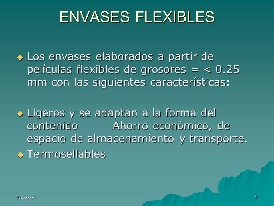 ENVASES FLEXIBLES Los envases elaborados a partir de películas flexibles de grosores = < 0.25 mm con las siguientes características:
