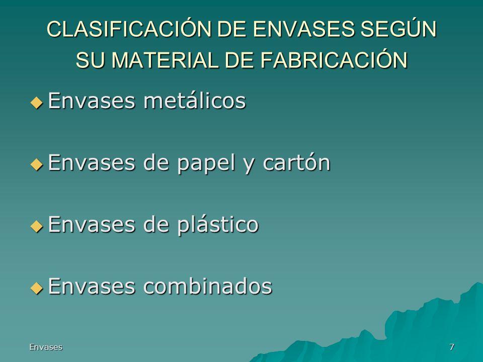 CLASIFICACIÓN DE ENVASES SEGÚN SU MATERIAL DE FABRICACIÓN