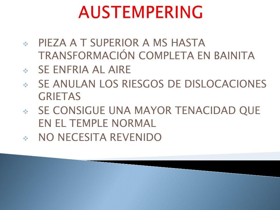 AUSTEMPERING PIEZA A T SUPERIOR A MS HASTA TRANSFORMACIÓN COMPLETA EN BAINITA. SE ENFRIA AL AIRE.