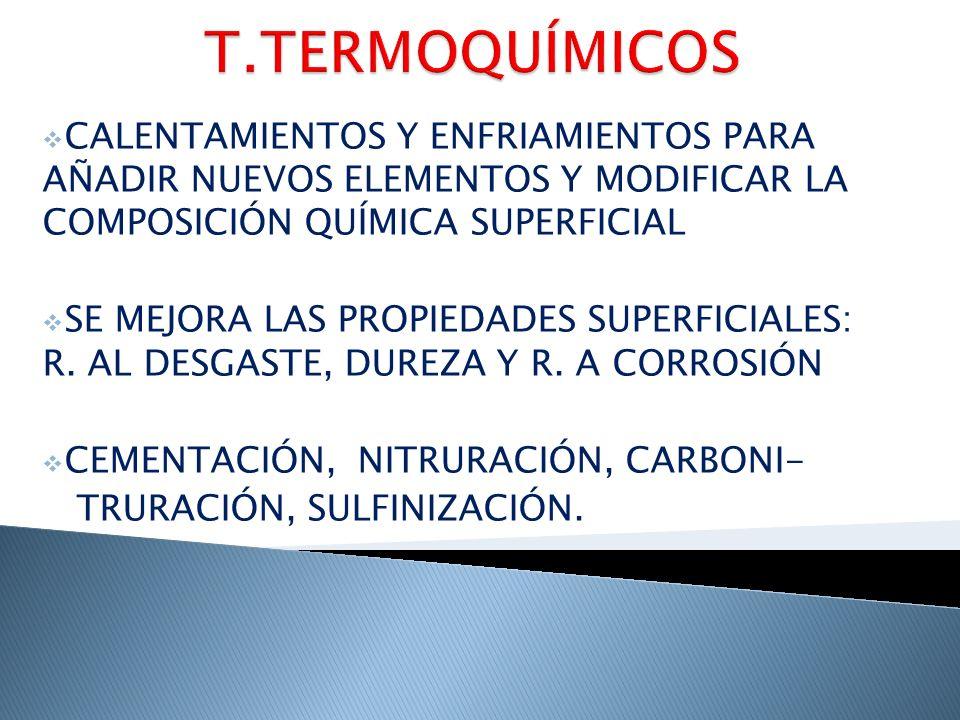 T.TERMOQUÍMICOS CALENTAMIENTOS Y ENFRIAMIENTOS PARA AÑADIR NUEVOS ELEMENTOS Y MODIFICAR LA COMPOSICIÓN QUÍMICA SUPERFICIAL.