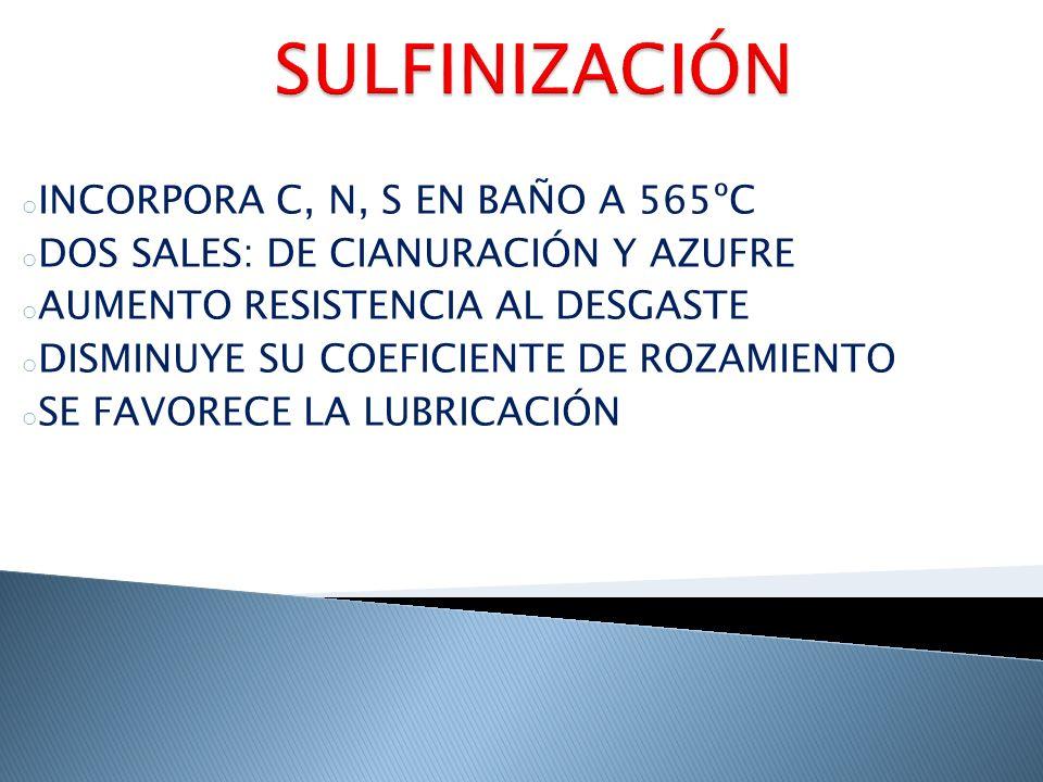 SULFINIZACIÓN INCORPORA C, N, S EN BAÑO A 565ºC