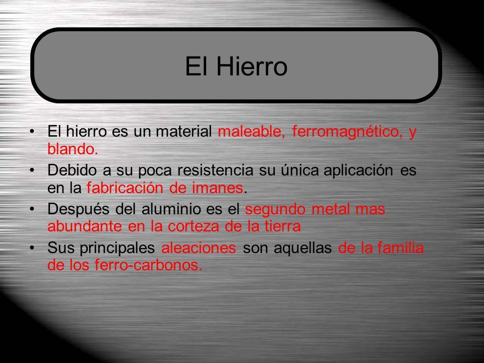 El Hierro El hierro es un material maleable, ferromagnético, y blando.