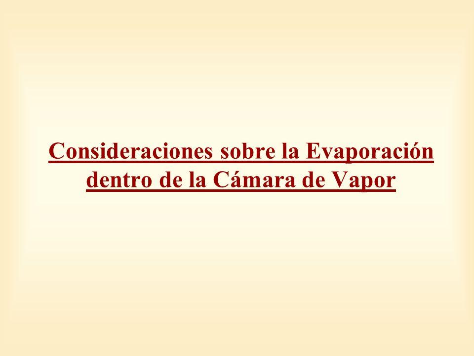 Consideraciones sobre la Evaporación dentro de la Cámara de Vapor