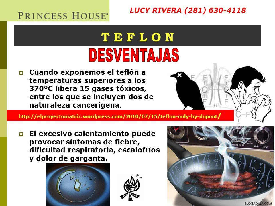 DESVENTAJAS T E F L O N LUCY RIVERA (281) 630-4118