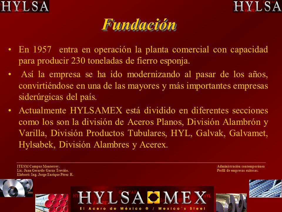 Fundación En 1957 entra en operación la planta comercial con capacidad para producir 230 toneladas de fierro esponja.