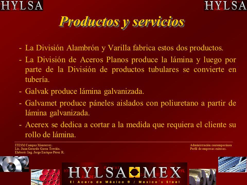 Productos y servicios La División Alambrón y Varilla fabrica estos dos productos.