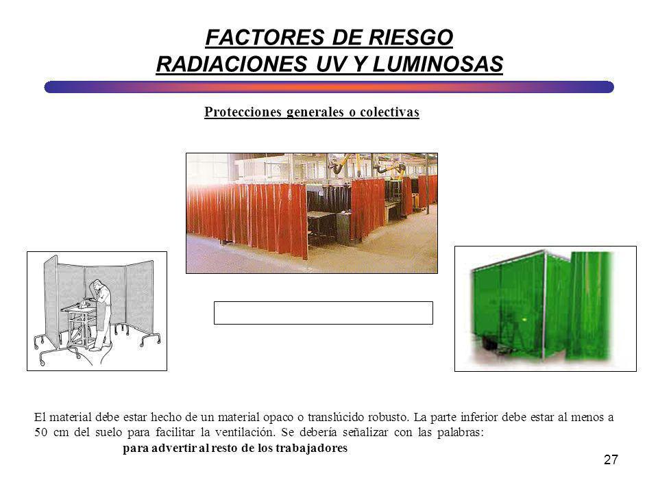 FACTORES DE RIESGO RADIACIONES UV Y LUMINOSAS
